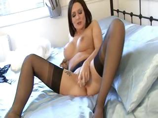 Milf in Bullet Bra Girdle and Nylons
