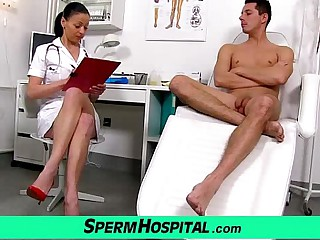 Czech milf doctor Renate female parent with boy polyclinic sperm extraction
