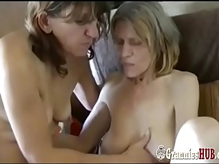 Venerable Saggy Granny And GILF Brunette Are Lesbians