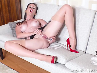 Lowering Brown mother i'd like surrounding have sex undresses off masturbates in stockings garters heels